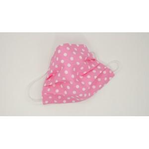 Masca prot.fashion,lavabila-MAFS340Pink/W.dots-set 5 buc.